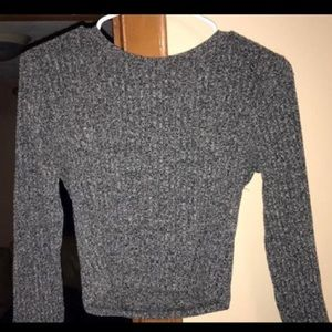Forever 21 Grey/Black Knit Cropped Long Sleeve